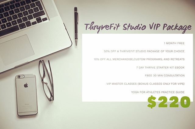 🌿ThryveFit Studio VIP Membership🌿 Only 40 memberships available at this price. One year package that saves you money and gives you access to the most exclusive offers and programs! . Sign up now by clicking link in bio 👆🏼💦✨ . Launch 🚀 Date May 14th! . . . Thryve: || ON! . . #thryvefitstudio #motivationalmonday #monday #onlinetraining #training #hiit #yoga #meditation #fitness #wellness #education #women #strength #strengthtraining #myofascialrelease #workouts #liveclasses #onlinefitness #fitspo #follow #enroll #igdaily #igyoga #igfitness #awake #crossfit #barbell