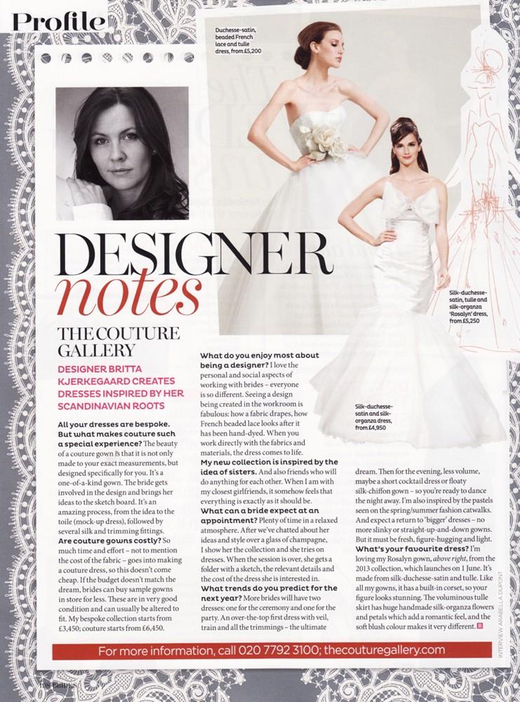 Brides July/August 2012 - Designer Profile