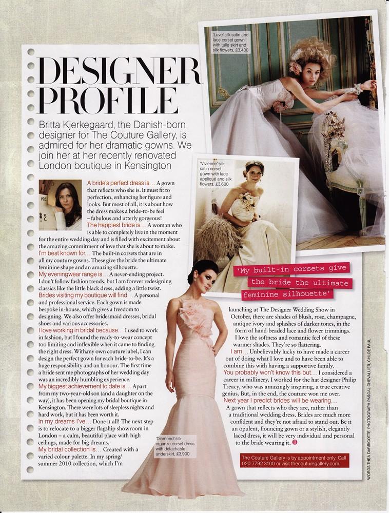 Brides Magazine Nov/Dec 2009 - Designer Profile