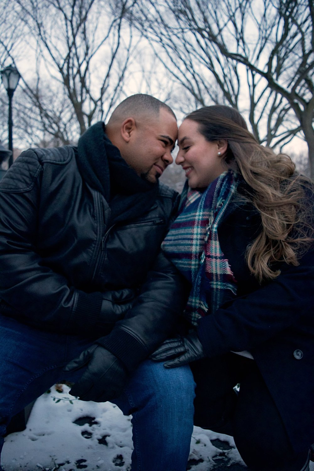 Married Couples Winter Engagement Session Photography Central Park Gapstow Bridge Literary Walk