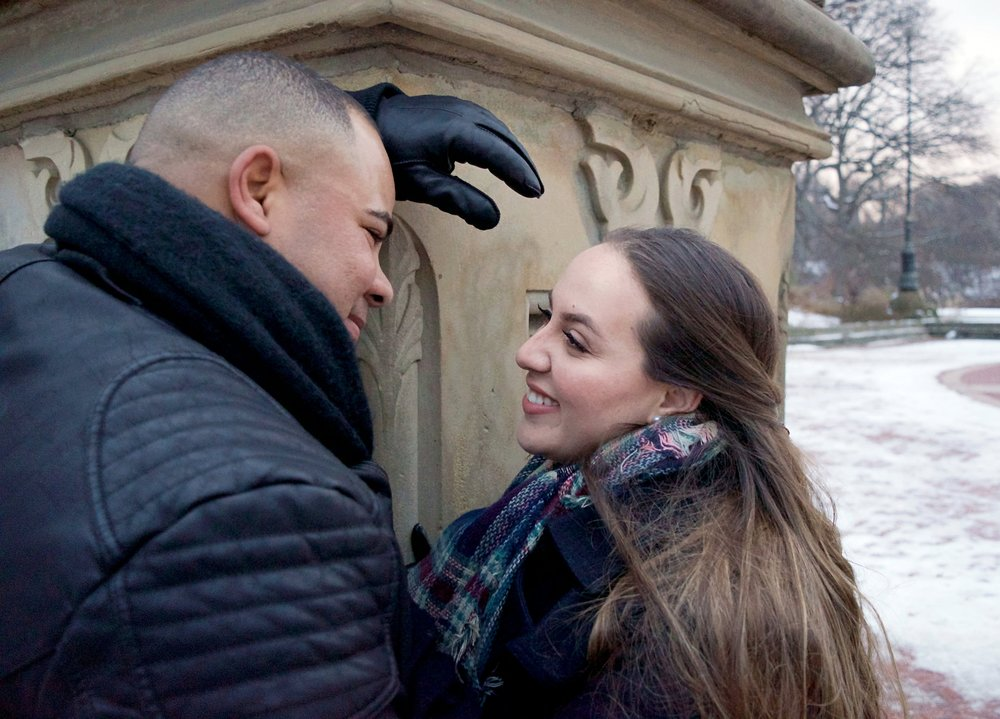 Married Couples Winter Engagement Session Photography Central Park Gapstow Bridge Bethesda Fountain