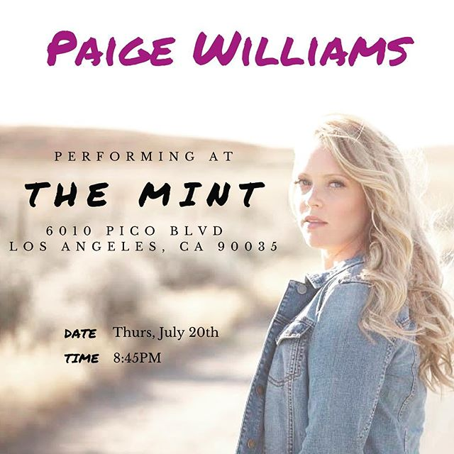 Los Angeles / Southern Californians.. SAVE THE DATE! 🎸🎼 Come hear all my new songs with my amazing band at @themintla on Thursday, July 20th at 8:45pm 😍💋#californiacountry