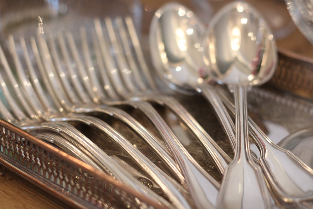 French dinner forks set of six 250.00  English serving spoon 42.00