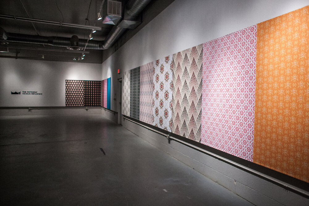 eighteen sections of wallpaper from  The Patterns' Vicious Influence  on view in a solo exhibition at Charles Adams Studio Project's 5&J Gallery in Lubbock, TX (Summer 2016)