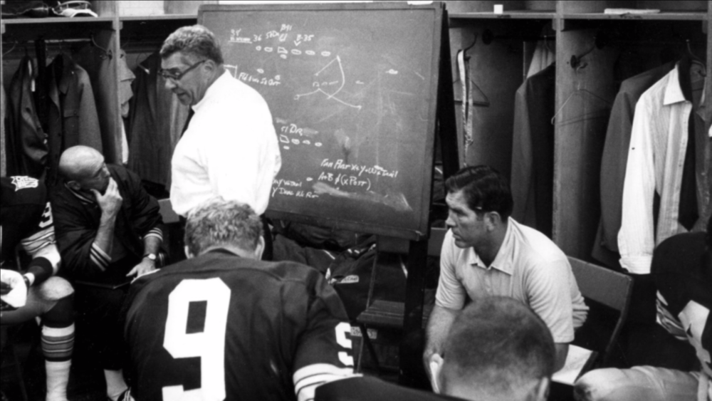 Lew Carpenter and Vince Lombardi in the Green Bay Packers locker room.