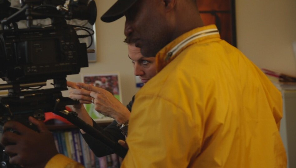 Rebecca Carpenter, Director, and Eric Wycoff, Cinematographer, behind the camera