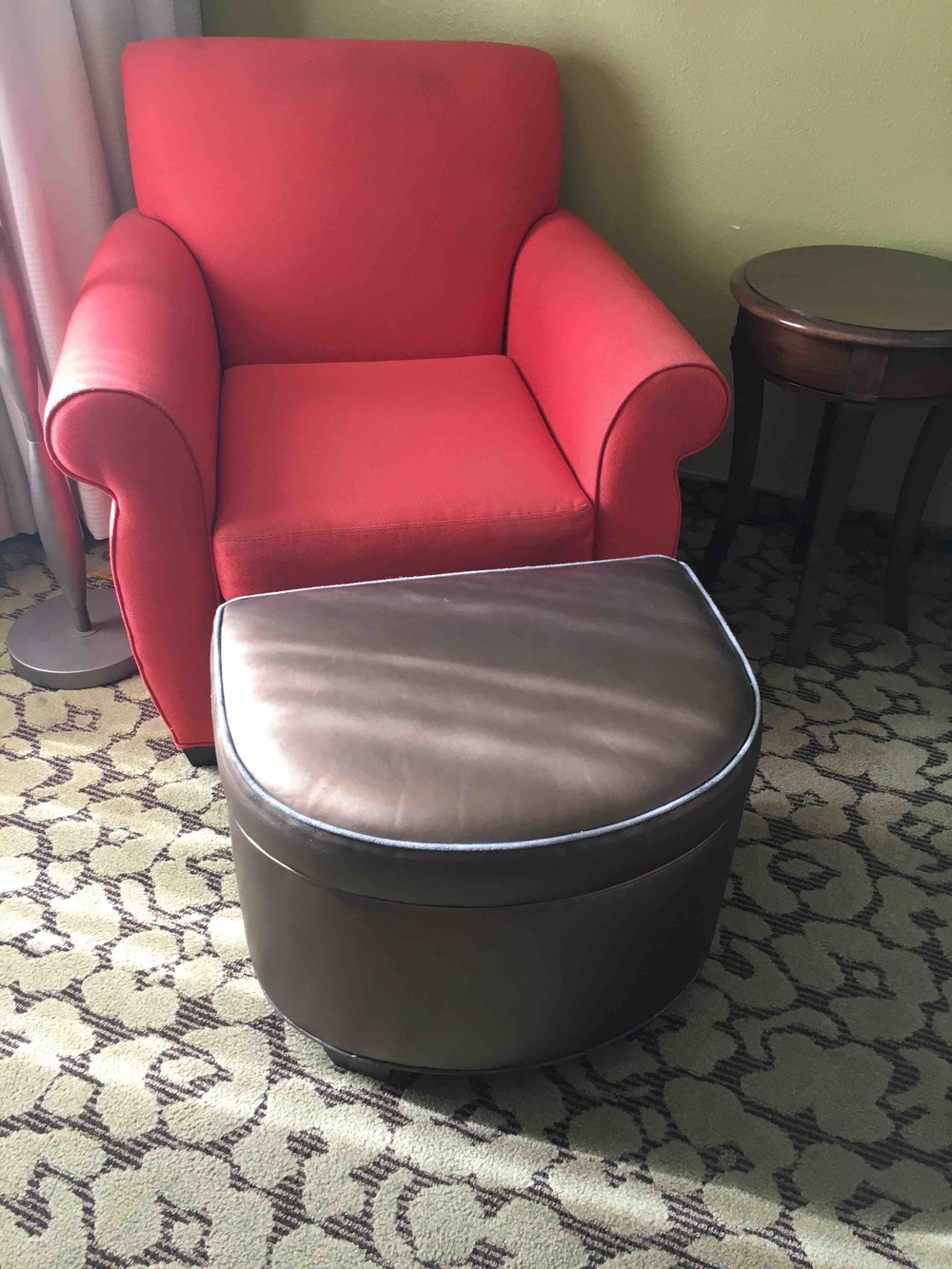 Red Armchair $48  Ottoman $25