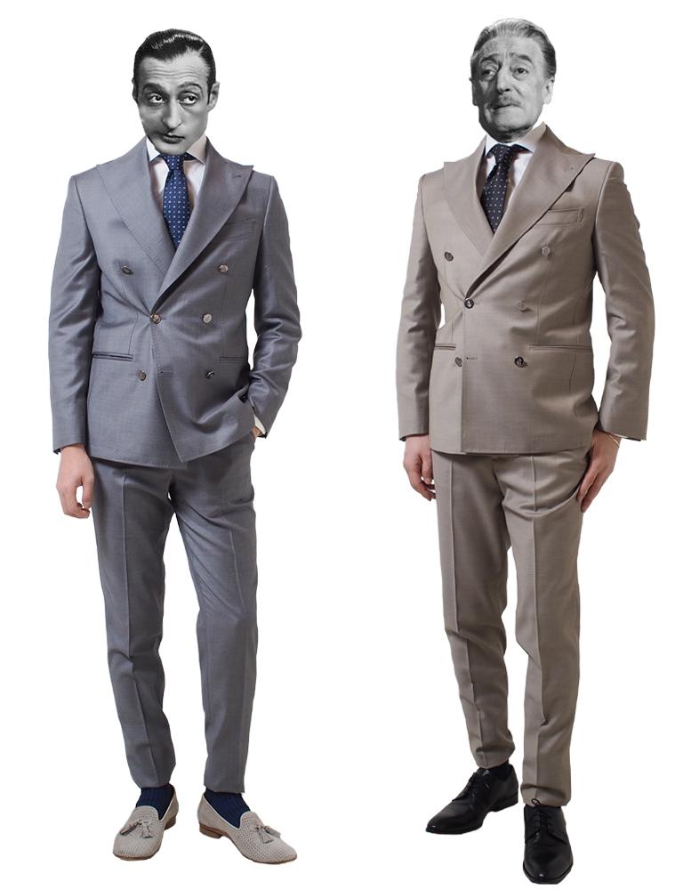 ナポリメイドのダブルブレスト・スーツ(グレイ・ベージュ)