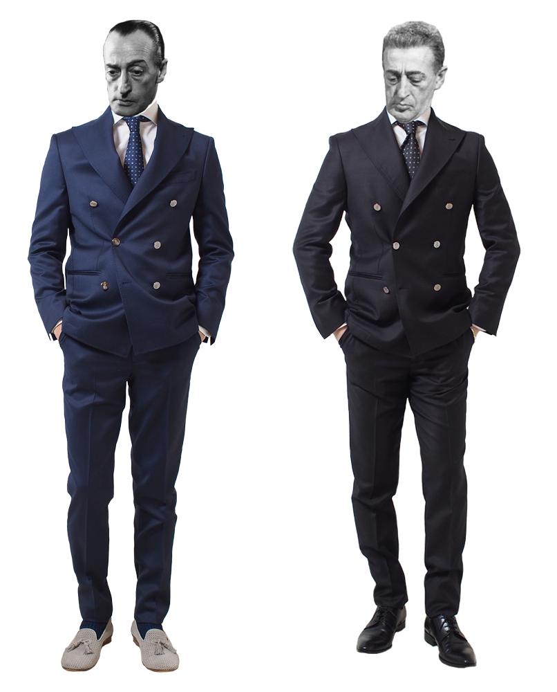 ナポリメイドのダブルブレスト・スーツ(ネイビー・ブラック)