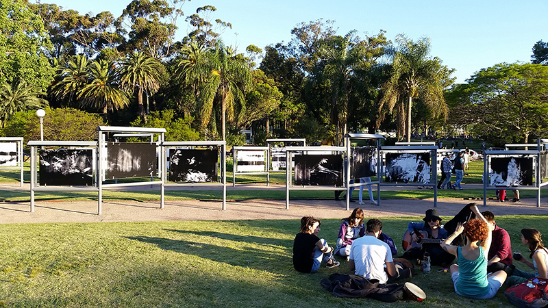 Instalación en Galería Parque Rodó, Montevideo, Uruguay, diciembre 2015 - febrero 2016.  Installation Parque Rodó, Montevideo, Uruguay.