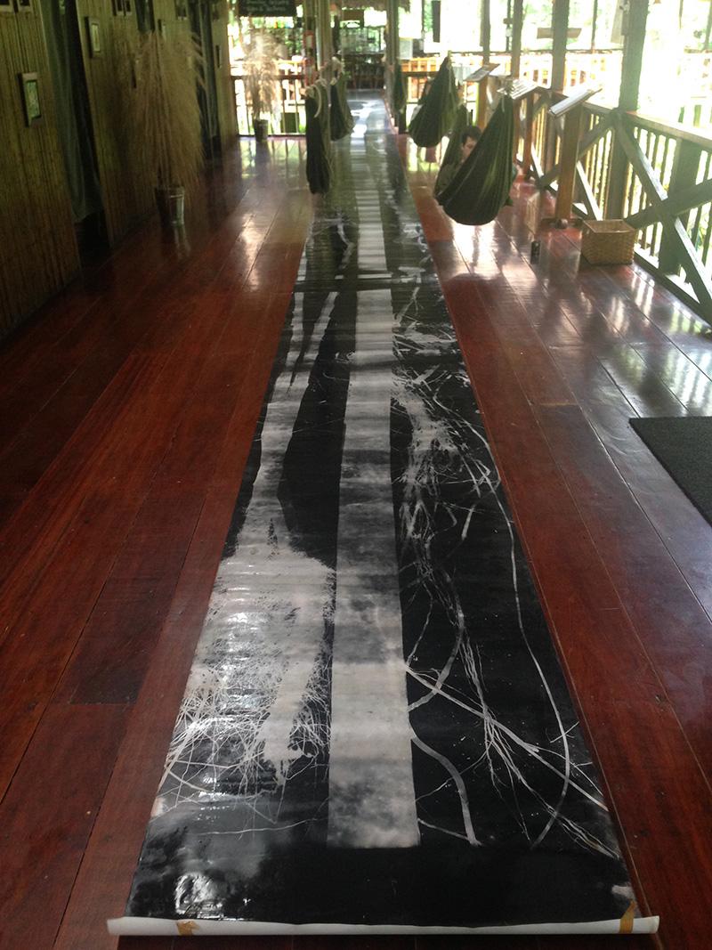 Fotograma en el piso del lodge.