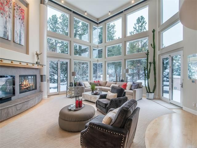 Custom home living room with view
