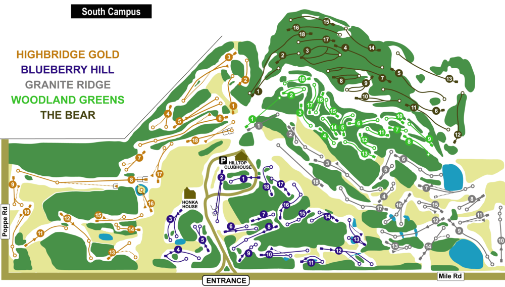 Map of South Campus, entrance at  68446 Mile Road.