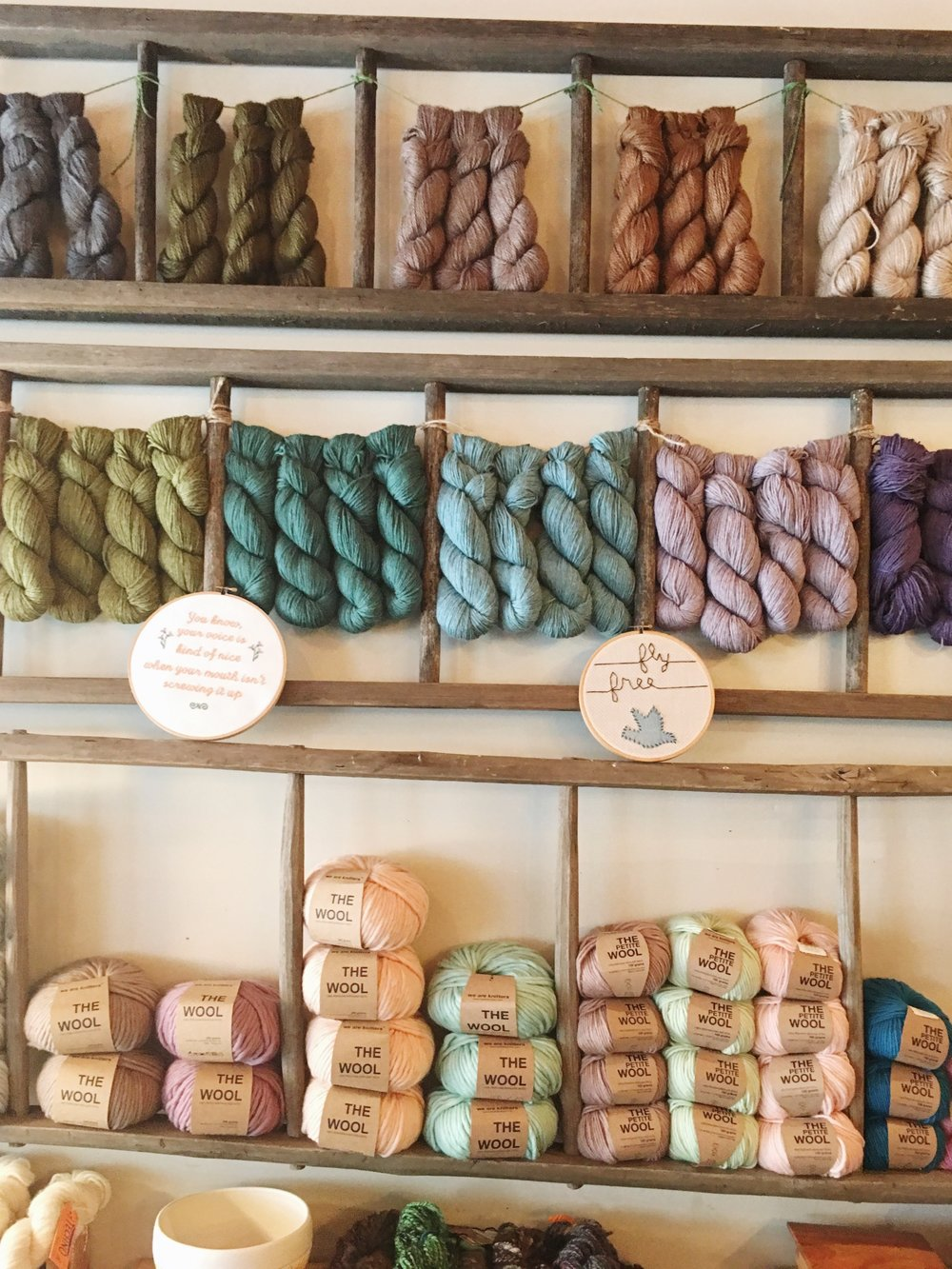 Little Button Craft and Press   has plethora of yarn, prints, illustrated cards and wide variety of crafty things from local makers across the city.