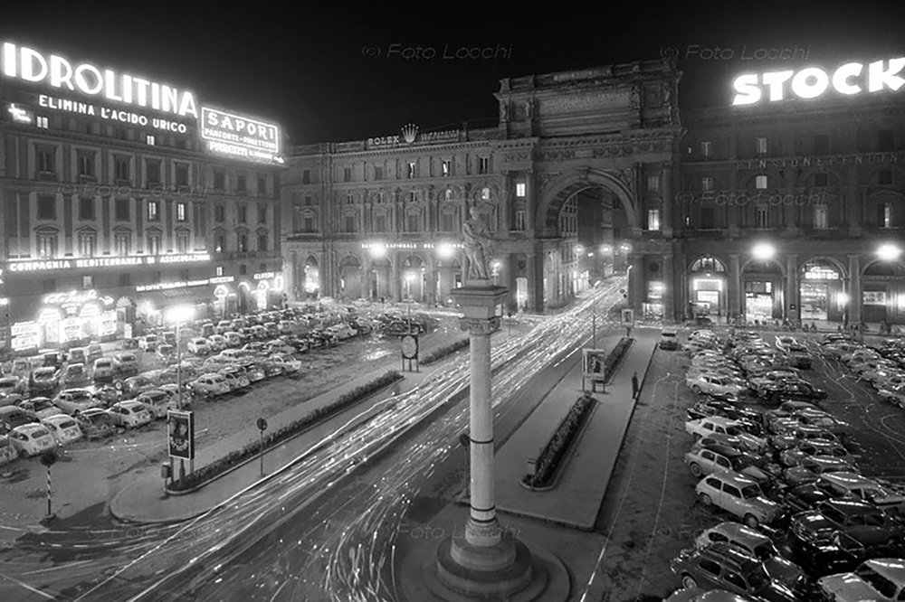 Piazza della Repubblica in a vintage image