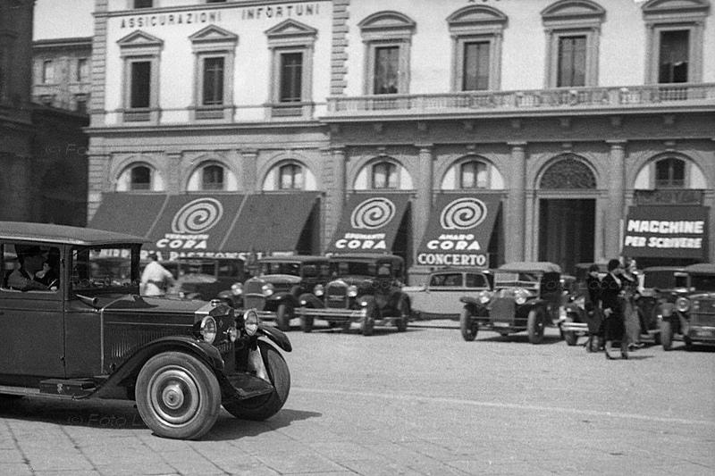 Piazza della Repubblica, Firenze, in a vintage image