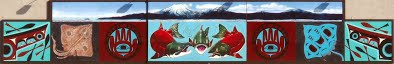 "Portion of  ""Wild Fish Mural""  Two 100' x 10' murals - June 2006, Acrylic paint on wood panels.  Sitka Cold Storage Building"