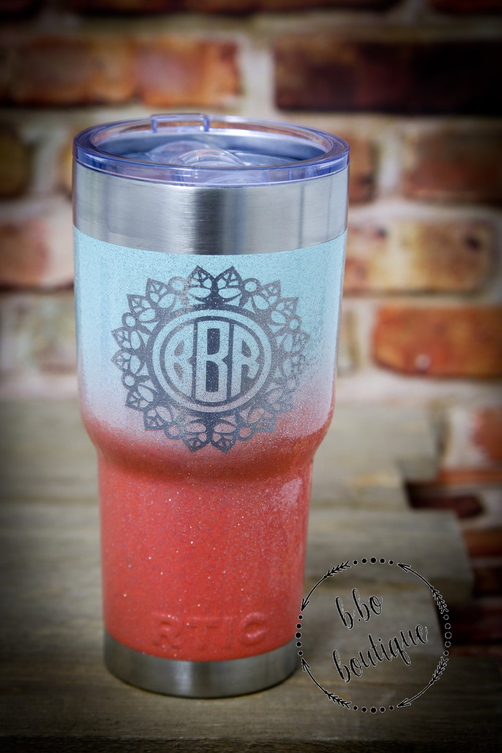30 oz ombre glitter monogrammed RTIC tumbler