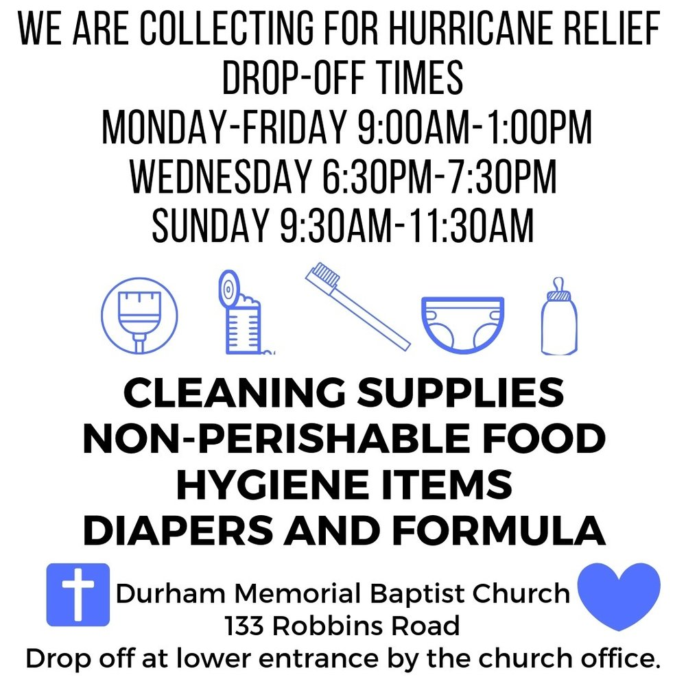 DMBC is collection site for the Yates Baptist Association Hurricane Relief. You may place desired items for donation, canned food, diapers, hygiene and cleaning items, in the upstairs and downstairs foyer and in the marked space in the Family Life Center. Items may be dropped off during the week Monday through Thursday 9am to 2pm and Friday 9am to 1pm.