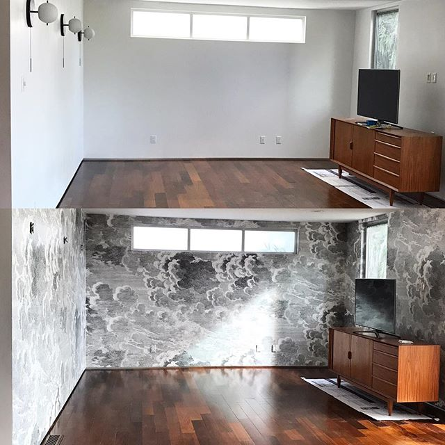 Who knew wallpaper could have so many feels 😍☺️😊😠😢🤗 • • • #somanyfeels #designtherapy #interiordesign #wallpaper #beforeandafter #twobecomeone {the real before was two rooms} #midcenturymodern @cole_and_son_wallpapers @srinteriors @tropicalissa