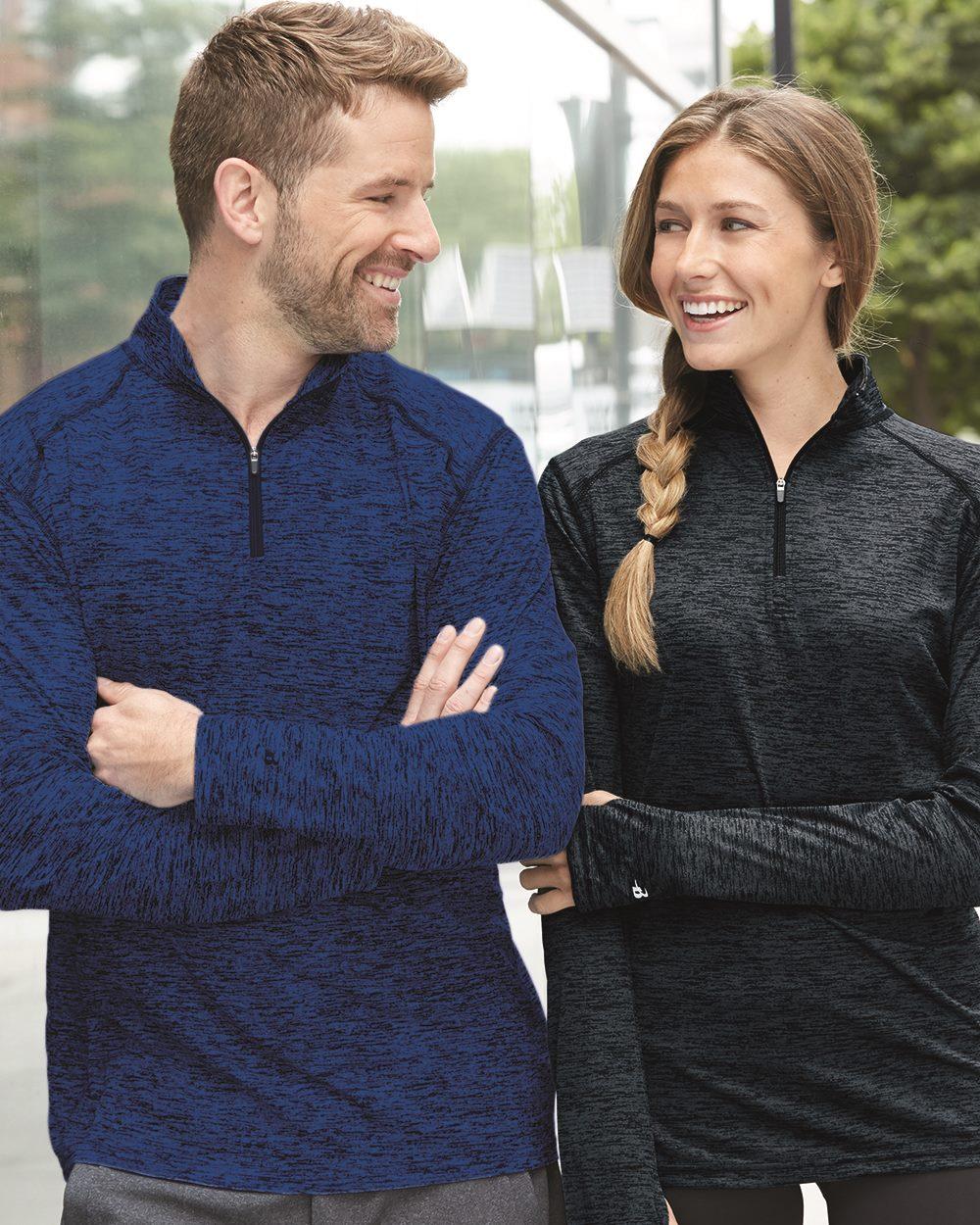 Badger - Tonal Blend Quarter-Zip Pullover T-Shirt -blue dot apparel
