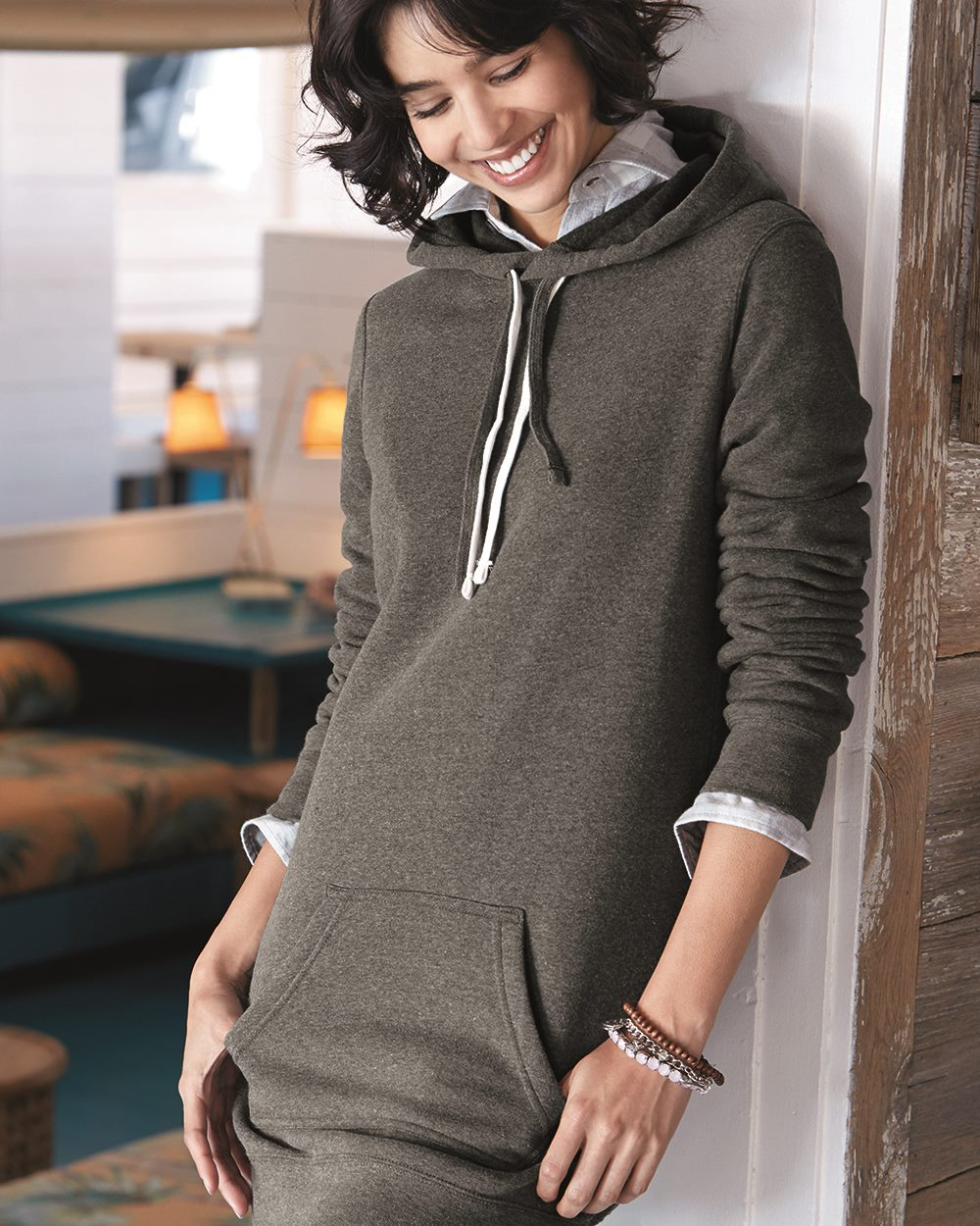 Independent Trading Co. - Women's Special Blend Hooded Pullover Dress blue dot apparel