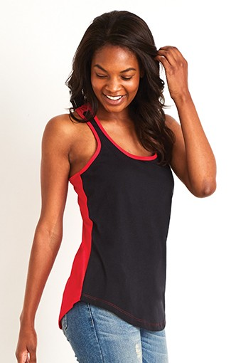 Next Level - Women's Ideal Color Black Racer Back Tank blue dot apparel