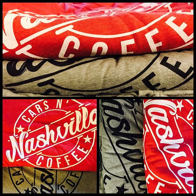 Thanks to #nashvillecarsncoffee for letting us design and print your awesome shirts! Not sure how long they'll last. Don't forget to pick yours up tomorrow at the Event! @nashvillecarsncoffee