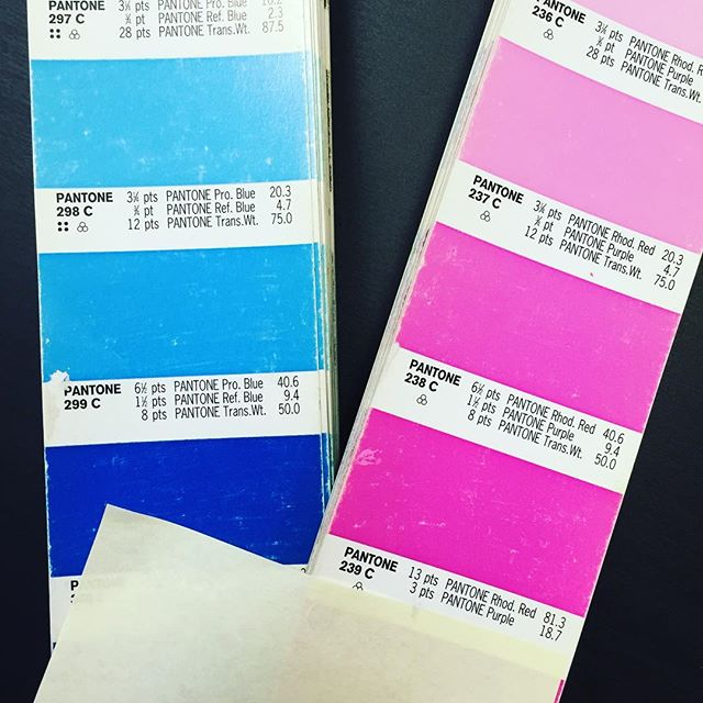 Gotta love a good ole Pantone book! Keeping the color right!! #customerembroidery #custom #screnprinting #bluedotapparel #pantonematching #screenprintinglife #getitright #printinglife #customshirts