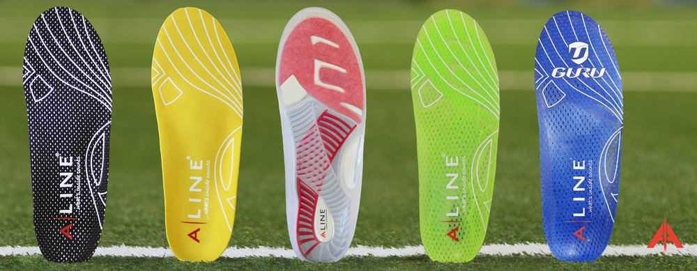 In order: warm insole, Active + (antimicrobial material), Active (basic model), golf specific, cycling specific.