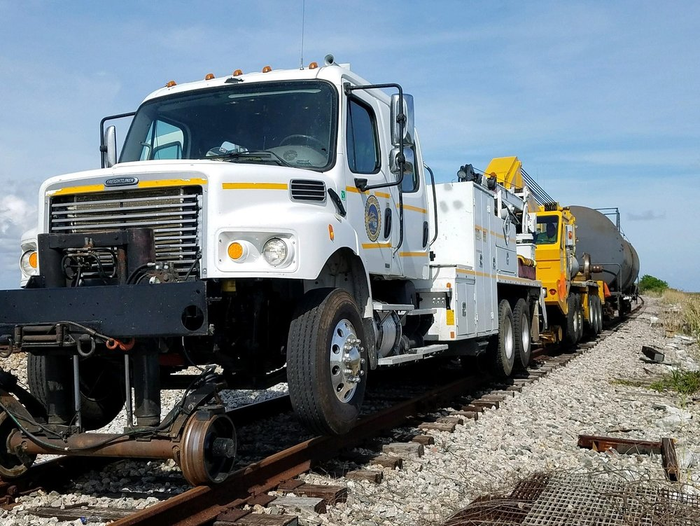 Our service trucks are an important part of our team.  Meet one of our top performers, featuring hy-rail capability and a service crane in the back.