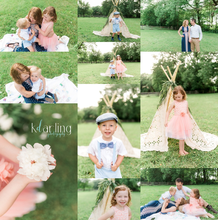Family photo session in Champaign County with antique tent.