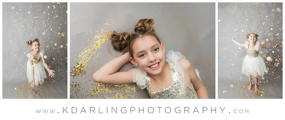 Eight year old girl playing in glitter