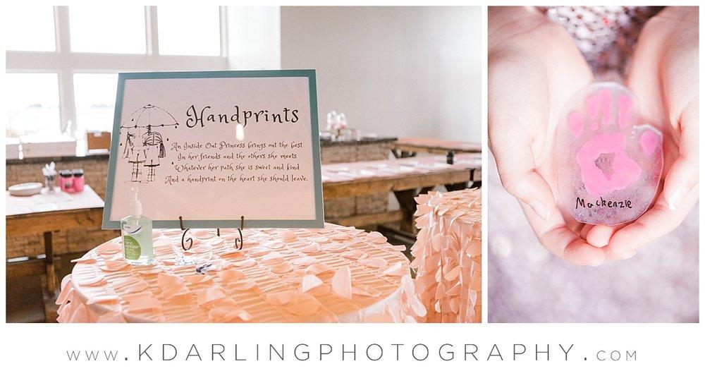 Princess handprints at pear tree estate in champaign, IL