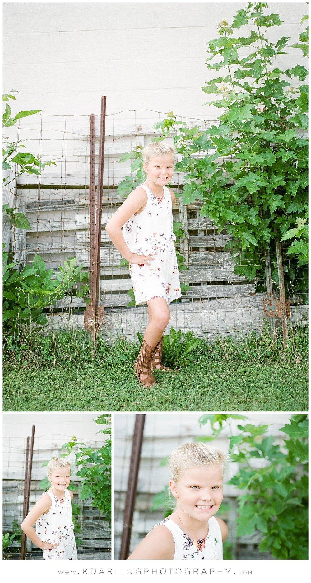Pre-tween girl in white dress
