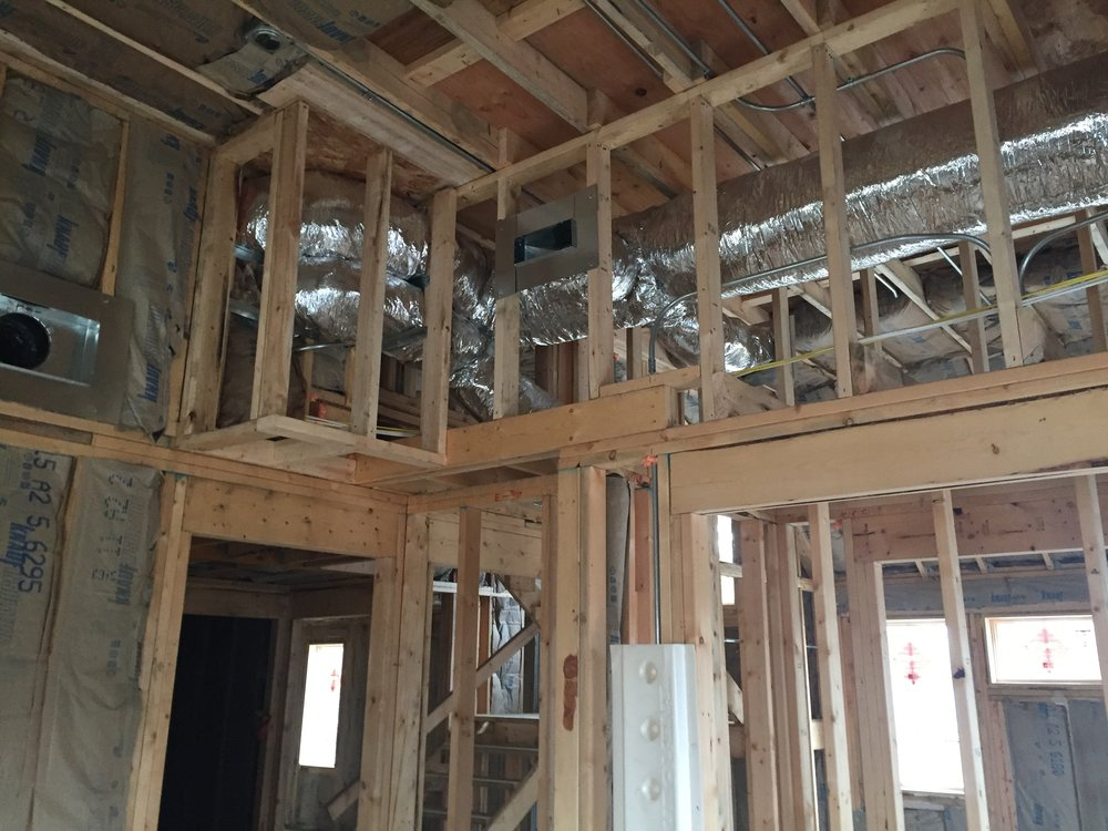 Interior Framing, wood studs, under construction, front porch