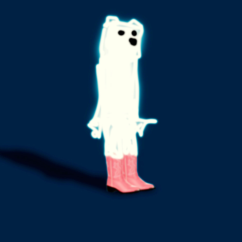 Poorly Drawn Bear in Pink Cowboy Boots Watching from the Outskirts of the Dance Floor While His Friends Do  The Electric Slide