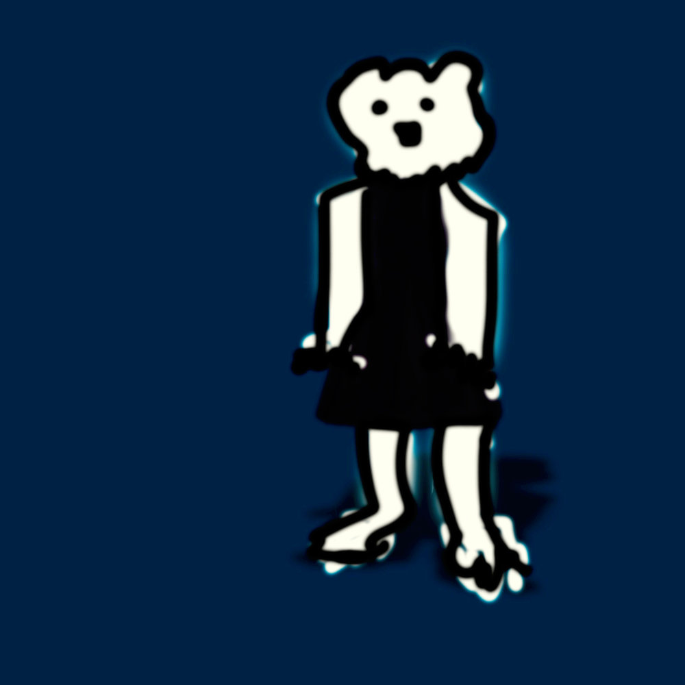 Poorly Drawn Bear in a Little Black Dress