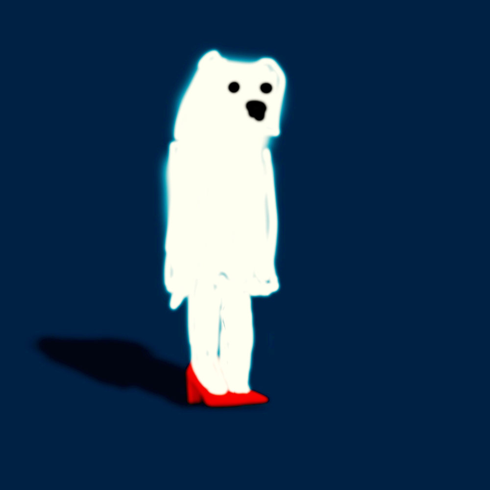 Poorly Drawn Bear in Red Pumps Is Hoping You'll Ask Him to Dance