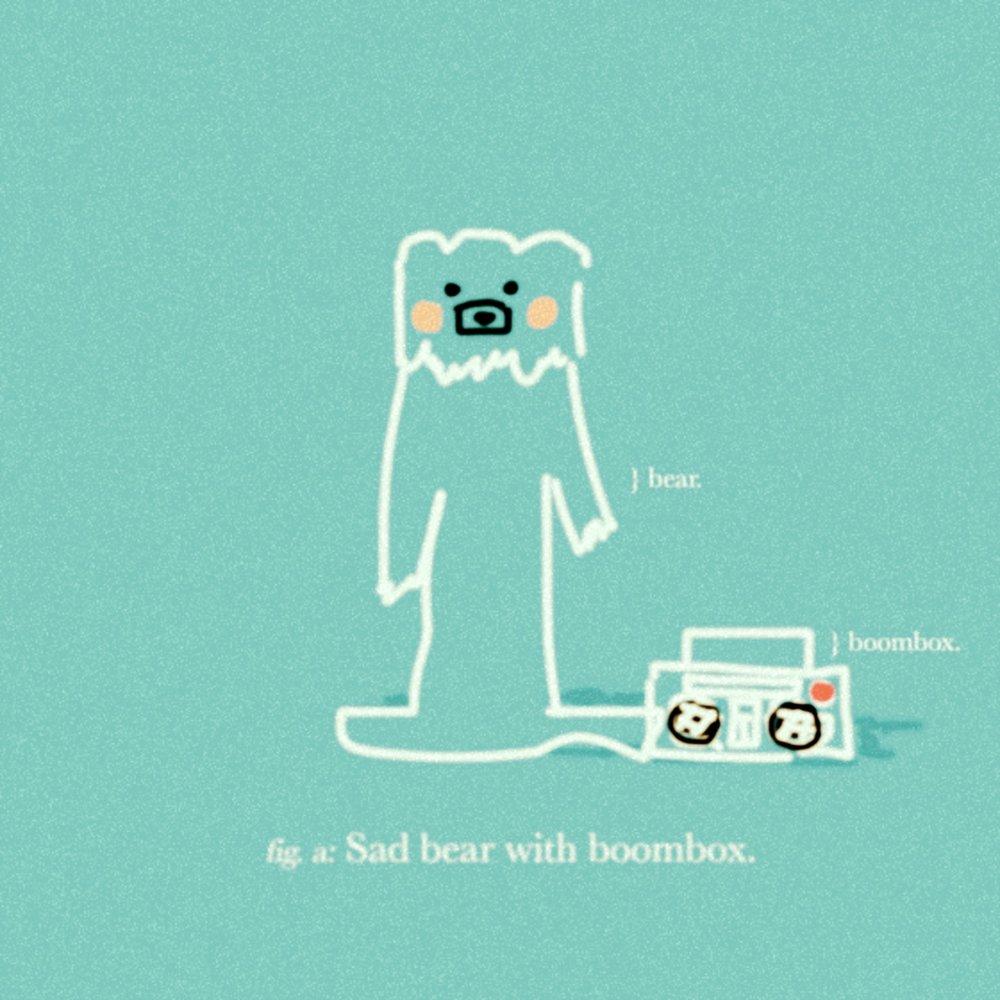 Sad bear with boombox.