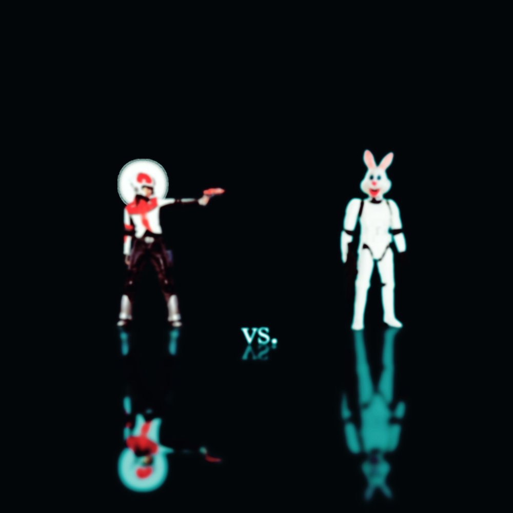 retro future space woman vs bunny trooper