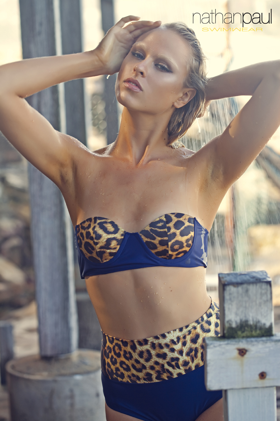 LEOPARD PRINT AND NAVY STRAPLESS BIKINI