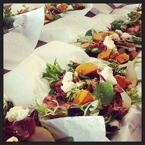 Pumpkin, pear, proscuitto salad