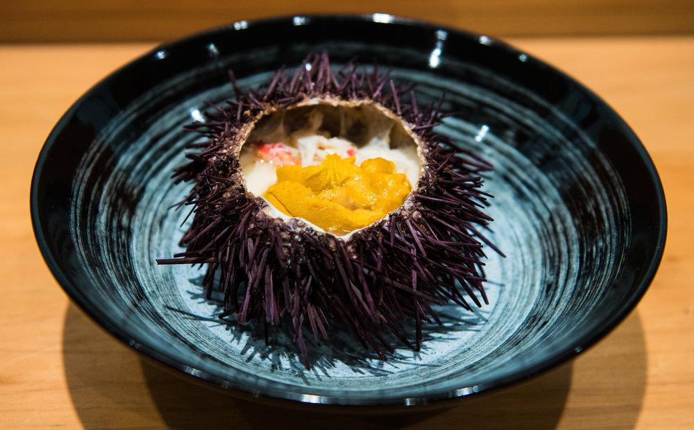 Sea urchin is deliciously prepared at n/Naka.