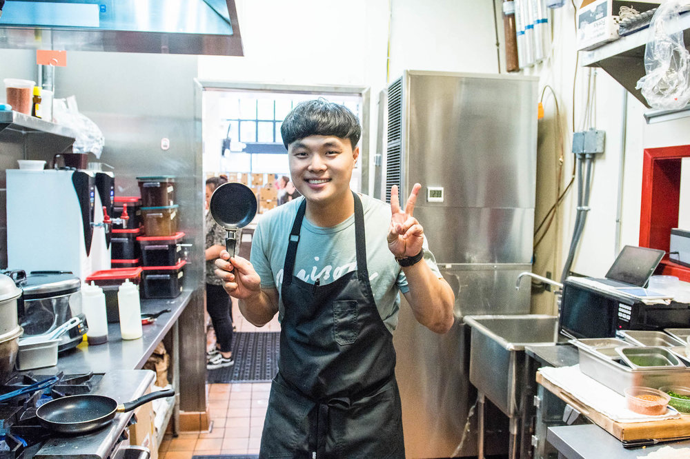 "Deuki Hong says, ""The world's smallest pan is my main arsenal."""