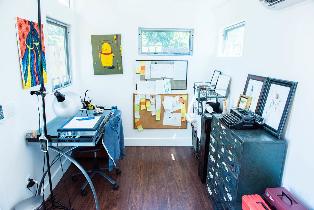 Mari's art studio is located in her backyard.