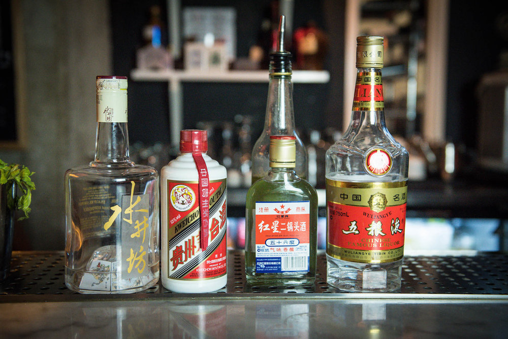 The different varieties of baijiu served at Peking Tavern.