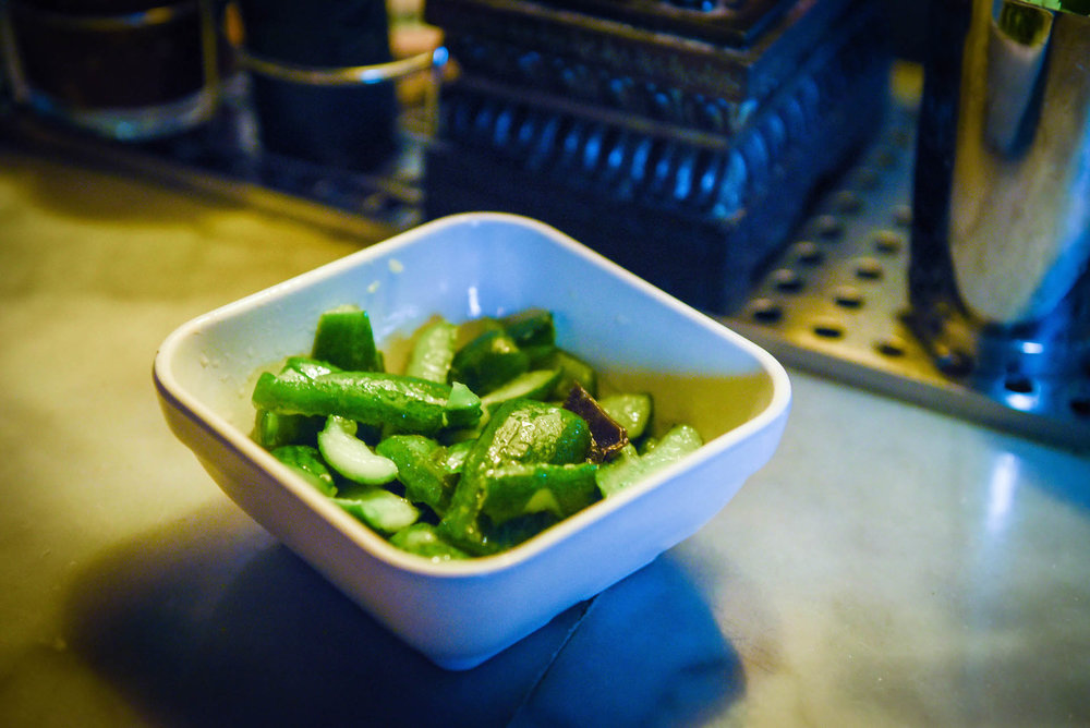 The pai huang gua, or smashed cucumbers.