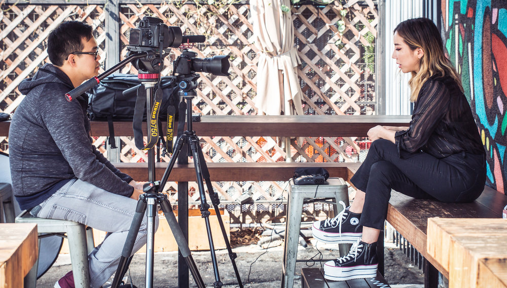 During the interview with TOKiMONSTA. Photographed on the left is GRM CEO George Ko.