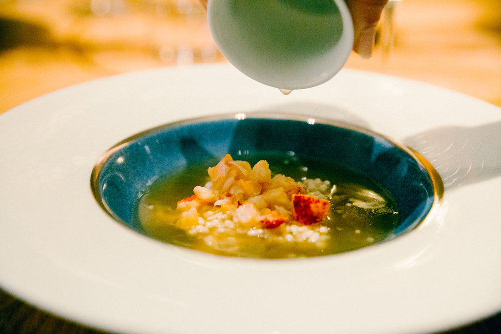 Upside Down Sizzling Rice Soup with Poached Lobster.